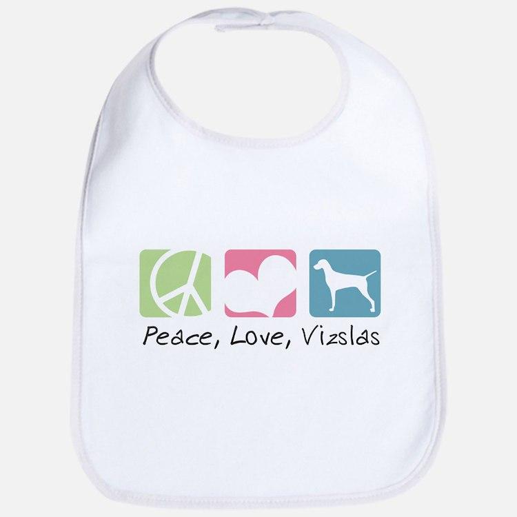 Peace, Love, Vizslas Bib