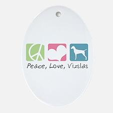 Peace, Love, Vizslas Ornament (Oval)