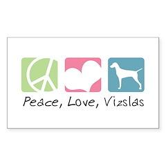Peace, Love, Vizslas Sticker (Rectangle 10 pk)