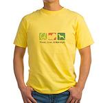 Peace, Love, Weimaraners Yellow T-Shirt
