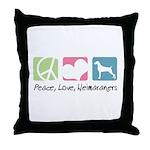 Peace, Love, Weimaraners Throw Pillow