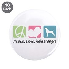 "Peace, Love, Weimaraners 3.5"" Button (10 pack)"