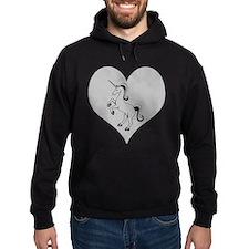 Black Unicorn, Gray Heart Hoodie