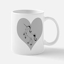 Black Unicorn, Gray Heart Mug