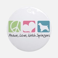 Peace, Love, Welsh Springers Ornament (Round)