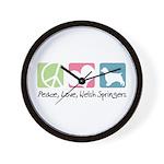 Peace, Love, Welsh Springers Wall Clock