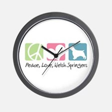Peace, Love, Welsh Springers Wall Clock