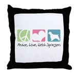 Peace, Love, Welsh Springers Throw Pillow
