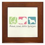 Peace, Love, Welsh Springers Framed Tile