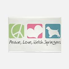 Peace, Love, Welsh Springers Rectangle Magnet (100