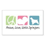 Peace, Love, Welsh Springers Sticker (Rectangle 10