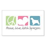 Peace, Love, Welsh Springers Sticker (Rectangle 50