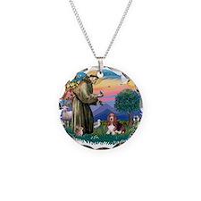 St.Francis #2/ Basset Hound Necklace Circle Charm