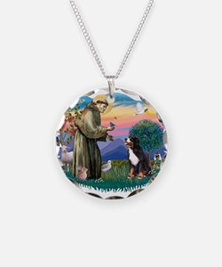 St Francis #2/ BMD Necklace Circle Charm