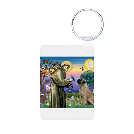 St Francis / Bullmastiff Aluminum Photo Keychain