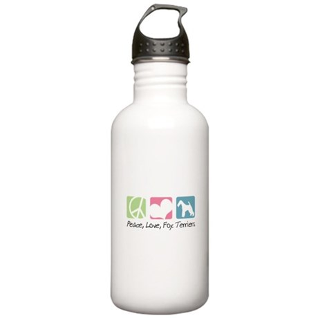 Peace, Love, Fox Terriers Stainless Water Bottle 1