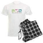 Peace, Love, Fox Terriers Men's Light Pajamas
