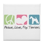 Peace, Love, Fox Terriers Tile Coaster