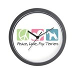 Peace, Love, Fox Terriers Wall Clock
