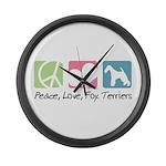 Peace, Love, Fox Terriers Large Wall Clock