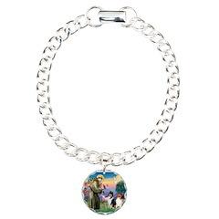 St Francis / Collie Pair Charm Bracelet, One Charm