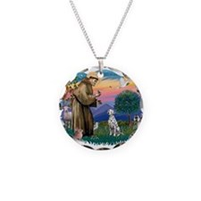 St Francis #2/ Dalmatian Necklace Circle Charm