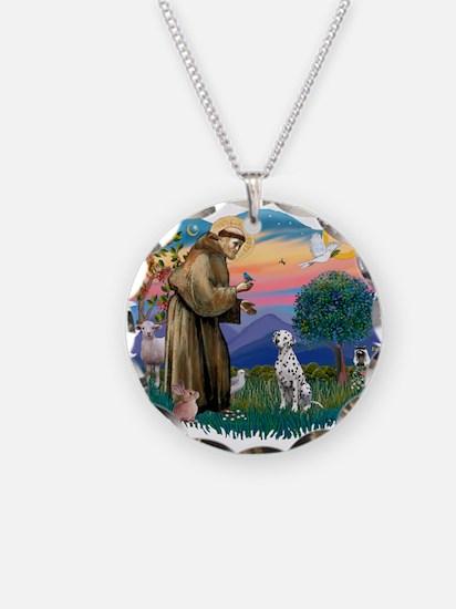 St Francis #2/ Dalmatian Necklace Circle Charm