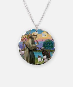 St Francis/3 dogs Necklace