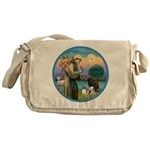 St Francis/3 dogs Messenger Bag