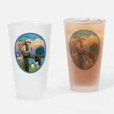 St Francis/3 dogs Drinking Glass