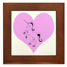 Black Unicorn, Pink Heart Framed Tile