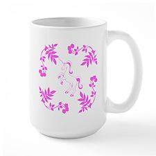 Pink Unicorn, Floral Scrolls. Mug