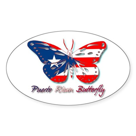Puerto Rican Butterfly Oval Sticker