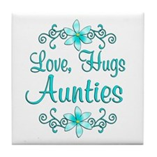 Love Hugs Aunties Tile Coaster