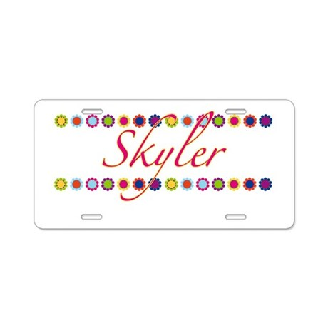 Skyler with Flowers Aluminum License Plate