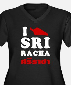 I Love Sriracha Women's Plus Size V-Neck Dark T-Sh