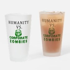 Humanity vs. Corporate Zombie Drinking Glass