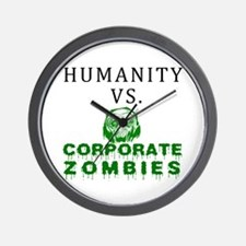 Humanity vs. Corporate Zombie Wall Clock