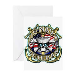 USN Navy Veteran Anchors Greeting Card
