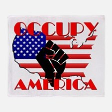 Occupy America USA Flag Throw Blanket