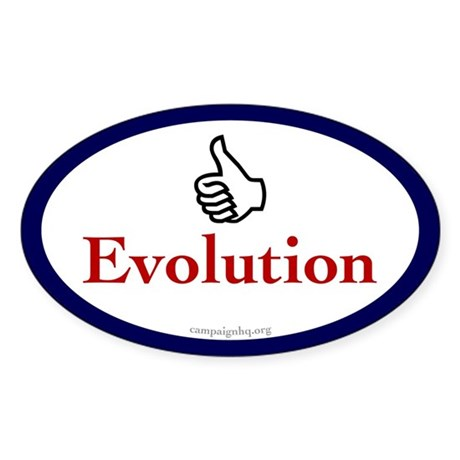 Thumbs Up for Evolution Oval Sticker