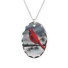 Cardinal on Pine Necklace Oval Charm