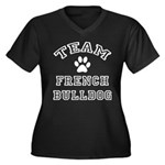 Team French Bulldog Women's Plus Size V-Neck Dark