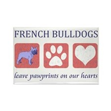French Bulldog Pawprints Rectangle Magnet