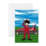 Red Arrow Pilot and Jet Greeting Cards (Pk of 10)