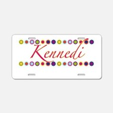 Kennedi with Flowers Aluminum License Plate