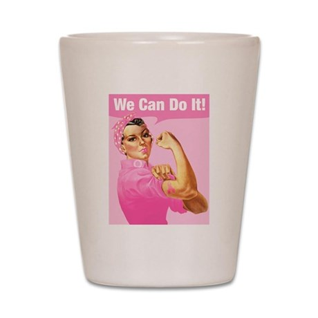 Rosie Riveter Cancer Tattoo Shot Glass
