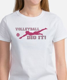 Volleyball Dig It pink Tee