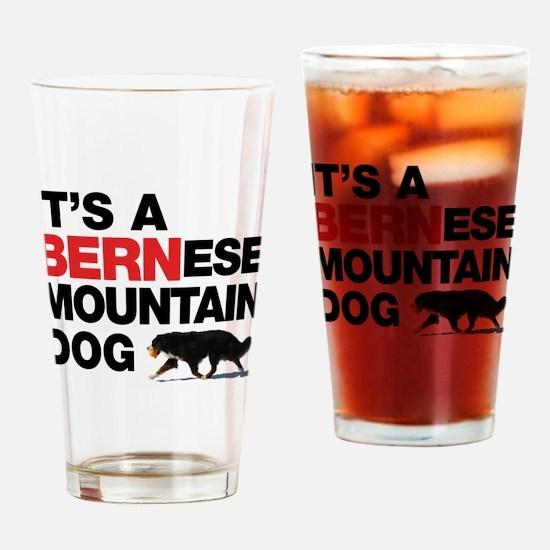 Cute Bernese puppy Drinking Glass