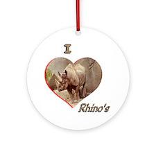 I Love Rhino's Ornament (Round)